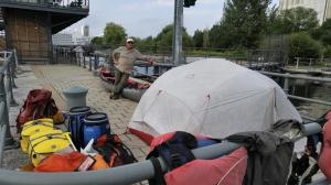 Camped on the Wharf of the Lachine Canal Lock #5